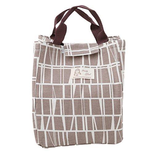 ODN Lunch Beutel Lunchtasche Mittagessen Tasche gut isolierte Picknicktasche Handtasche mit Klettverschluss (Braun) - Tasche Mittagessen Braun