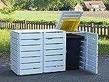 3er Mülltonnenbox / Mülltonnenverkleidung 120 L Holz, Deckend Geölt Weiß