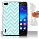 Coque Gel TPU de STUFF4 / Coque pour Huawei Honor 6 / Zig Zag Bleu Design / Mode Hivernale Collection