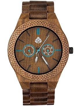 [Gesponsert]leafwood, der juglan Mutter, natürliches Walnuss recyceltem Herren Holz Armbanduhr