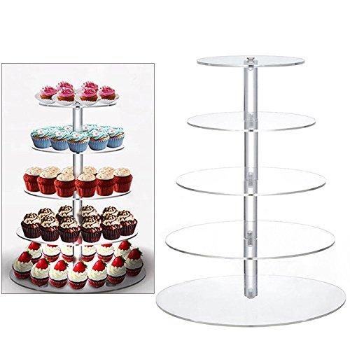RANZIX Cupcake Ständer, Kuchenständer 5/7-Stufig Acryl Halten sie Cupcakes Desserts, Kuchen, Torten, Früchte, für Nachmittagstee Party Baby Duschen Hochzeiten (5 Tier) Hochzeits-kuchen-dessert