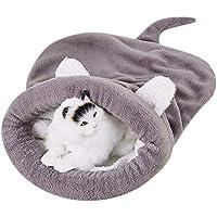 Hundehütten Zwinger Warm Haustier Schlafsack Weich Gemütlich Bett und Höhle für Katzen und Hunde (L, Grau)
