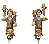 2x Wandleuchter Kerzenleuchter Kerzenständer Galionsfigur Sirene Antik-Stil