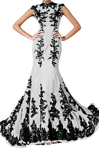 Applicazione punta, Ivydressing donna Elegant Mermaid Chiffon un'ampia vestito da sera lungo Bianco
