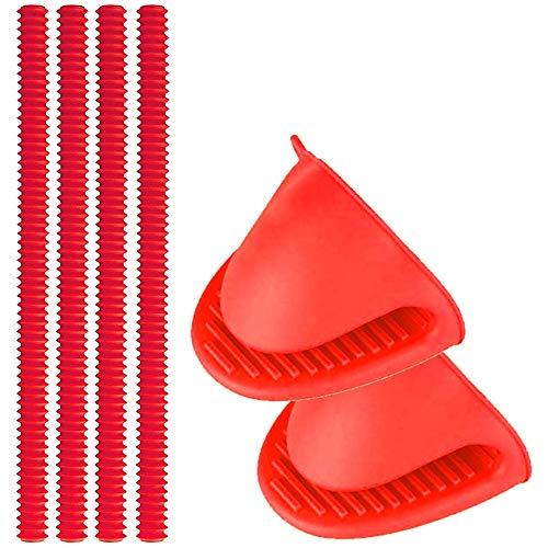 Schilder, 4 Pack Silikon Back Ofen Regal Schutz + 2 Mini F?ustlinge, Schutz Vor Verbrennungen Und Narben-Rot ()