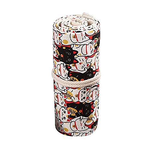 Qinlee 36 slots Leinwand Stifterolle Pencil Wrap Roll up Holder mit Cartoon-Katze Tasche Federmappe Verpackungshalter Bleistift Wrap Kasten Bleistifthalter für Künstler, Schule, Blumenuhr (Cartoon-bleistift-kasten)