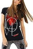 trueprodigy Casual Damen Marken T-Shirt mit Aufdruck, Oberteil cool und stylisch mit Rundhals Ausschnitt (Kurzarm & Slim Fit), Shirt für Frauen in Bedruckt Farbe: Schwarz 1082527-2999-XL