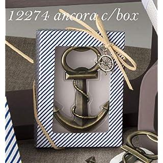 Apribottiglia a forma di ancora in scatola regalo BOMBONIERA