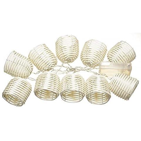 Guirlande lumineuse 10 lampions LED Scoubidou Blanc Acier et plastique