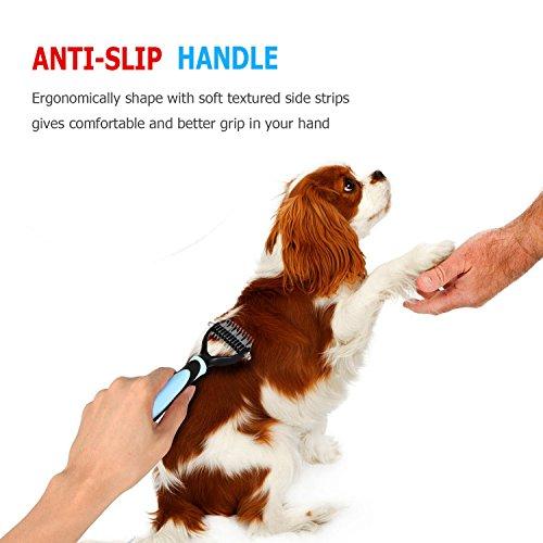 Hundebürste Hundekamm unterwolle Fell-Entfilzungsstriege Hundestriegel Enthaarungs-Bürste für Haustiere - 5