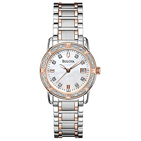 Bulova Diamond Women's Quartz Watch with Mother of Pearl Dial Analogue Display and Rose Gold/Silver Ion-Plated Bracelet