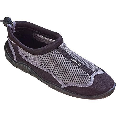 BECO Badeschuhe Surfschuhe Wattschuhe Strandschuhe Aqua Schuhe für Damen und Herren *Neue Kollektion (grau/schwarz, 36)