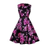 Lauzal 50s Retro Vintage Rockabilly Kleid Cocktailkleid Knielang Blumenprint Partykleid mit Gürtel Gr:-M, Farbe:-Lila-blumen