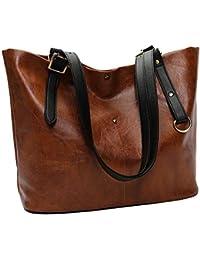 1f09b74e95843 LANDFOX Arbeiten Sie Retro- weiche lederne Schulterbeutel-Taschen taschen  deutebeutel Damen Vintage Canvas Umhängetaschen