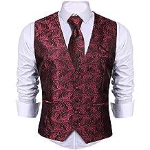 iClosam Gilet Homme Mariage 3pieces Veste Homme Suit Ensemble sans Manche  avec Coffrets Cravate et Mouchoir 60557b68be2