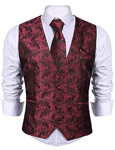 iClosam Chaleco y Corbata y pañuelos para Hombre Chaleco Ajustado de 8 Piezas Conjunto para Traje de Boda de Negocios.