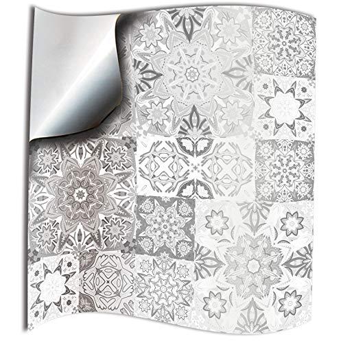 24x Gris blanco Lámina impresa 2d 15x15cm PEGATINAS lisas para pegar sobre azulejos cuadrados de 15cm...