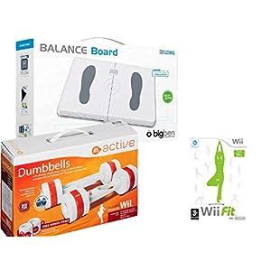 Eliware Wii – BigBen Balance Board mit EA Active Hanteln und dem Spiel,Wii Fit´