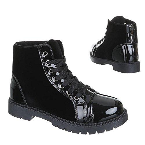 Damen Schuhe, ZJY-D13, STIEFELETTEN BOOTS Schwarz