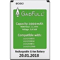 GadFull® Batería para LG G3   Fecha de fabricación del 2018   Corresponde al original BL-53YH   Modelo de Smartphone LG G3 D830   D851   D855   LS990   Perfecto como batería de repuesto