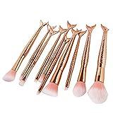 Coshine 10pcs/hat Rose Gold Einzigartige Meerjungfrau Make-Up Pinsel Set Kosmetische Werkzeuge Kits