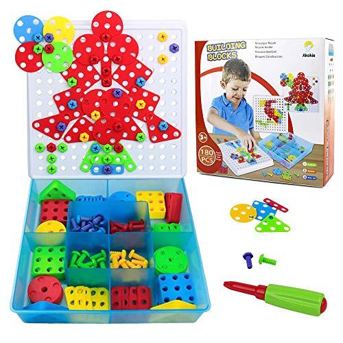 Akokie puzzlemosaico giochicostruzione con cacciavite 179 pcs classica puzzle per 3+