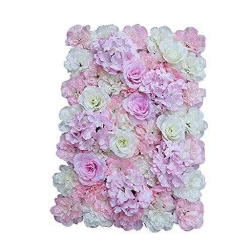 Sharplace Schöne Künstliche Blumen Säule, Kunstblumen Panel für Garten Hochzeit Dekor - Rosa Weiß - Blume-panel