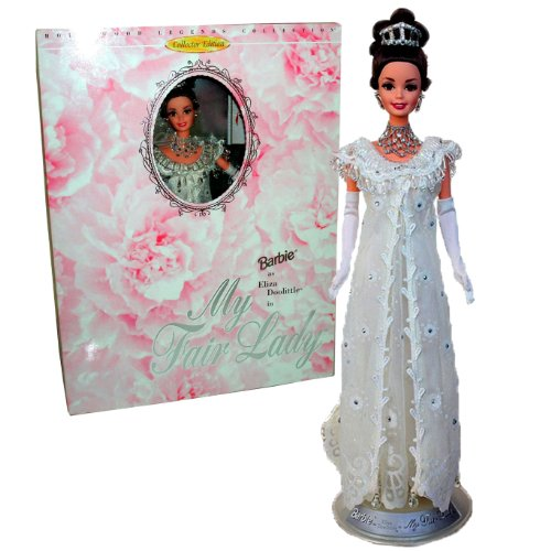 Mattel Year 1995 Barbie Collector Edition Hollywood Legends Collection Classic Movie My Fair Lady 12 inch Doll Set - Barbie as Eliza Doolitle with Sheer Lace Evening Gown with Rhinestone and Beads, Long Gloves, Tiara, Necklace, Earrings, Shoes, Doll Stand, Mini Movie Poster and Certificate of Authenticity (15500) (Mini Sheer Set)