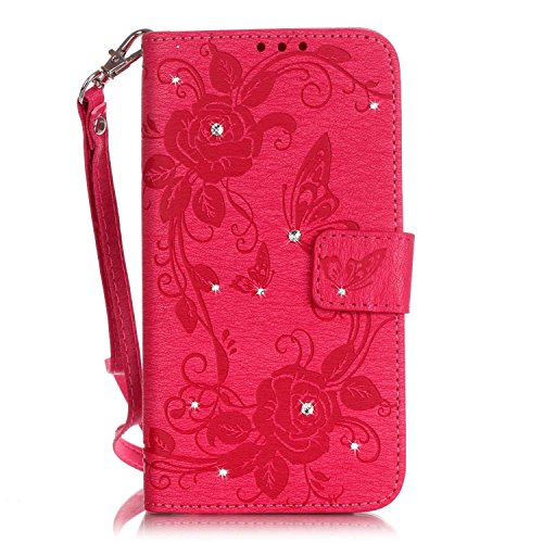 iPhone 6 Plus Hülle,iPhone 6S Plus Case,Cozy Hut Luxus funkelnde Kristall Strass glänzend Glanz-Design Schmetterlings-Blumen Muster Kunstleder Ledertasche Schutzhülle Case Tasche,Bunte Drucken Muster PU Leder Brieftasche Hülle Wallet Case Flip Cover Hüllen Etui Lederhülle mit Standfunktion Kredit Kartenfächer für iPhone 6 Plus / 6S Plus (5,5 Zoll) -Rose Red