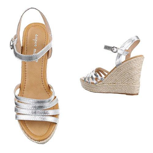 Ital-Design , chaussures compensées femme Silber