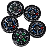 Lunji Mini Compass - 5Pcs 18mm Outdoor Portable Compass Kit for Camping Travel Hiking