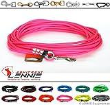Schleppleine aus 6 mm runder BioThane® / 1-30 Meter [20m] / 17 Farben [Neon-Pink] / ohne Handschlaufe