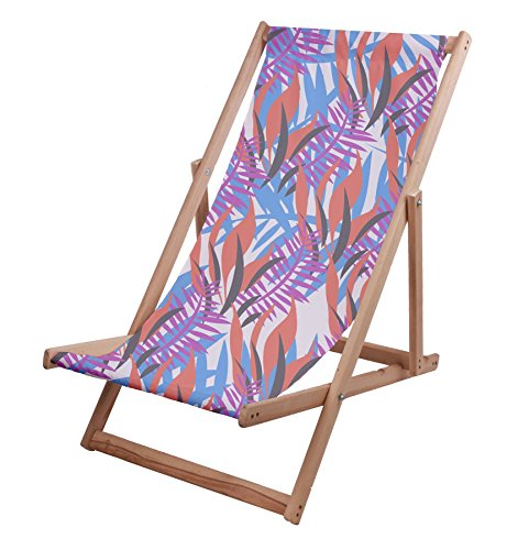 Leaf Liege (Martildo Fashion Traditionelle Quirky Retro Leinwandbild Garden Beach Deck Klappstuhl Palm Leaf)