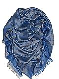 Schal Tuch Monogramm Groß Blau Weiß Dreieckstuch 150cm