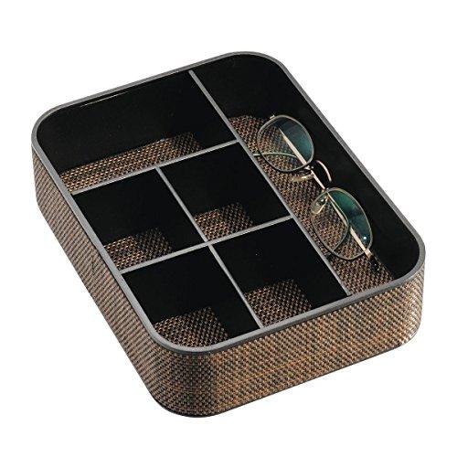 mDesign stilvolles Schmuckkästchen mit 6 Unterteilungen - Schmuckaufbewahrung aus Kunststoff - praktischer Sortierkasten für Sonnenbrillen, Armbänder und Accessoires - Bronze