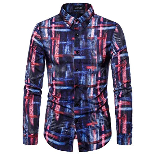Herren Hawaiihemd Bunt 3D Gedruckt Muster Langärmliges Businesshemd Aloha Freizeit Hemd Button Down Graphic Hemden Shirts -