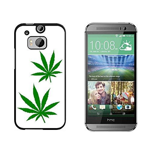 Marijuana Leaf Blätter–Topf Weed–Snap on Hard Schutzhülle für HTC One M8–Schwarz (Verizon M8)
