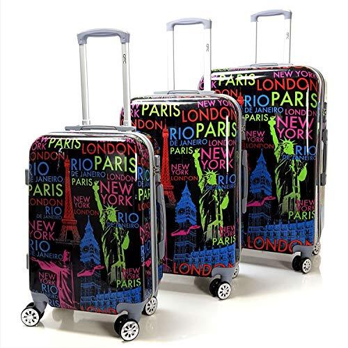 QTC Hartschalen Reisekoffer TSA Sicherheits Zahlenschloss mit 4 Doppelrollen Bilder (New York, 3er Set)