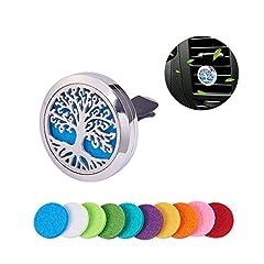 Idea Regalo - BENECREAT Albero di vita Auto rinfrescante aria Aromaterapia Essenziale Olio Diffusore Locket In Acciaio Inox con Clip Vent 10 Tamponi Feltri Lavabili