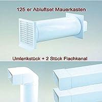 Vierkantrohr Durchm 125 mm  Muffe Abluft weiß Flachkanal L 100 cm