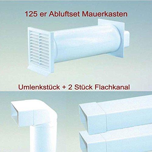 Abluftset 125mm Mauerkasten rund mit Rechteckanschluss und Rückstauklappe 2x Flachkanal 1m sowie Umlenkstück von flach auf rund Abluft Küche Dunstabzug