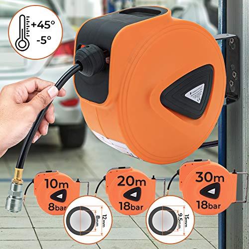 Druckluftschlauchtrommel - automatik Aufroller, 10m, 20m, 30m, 8/18bar, 1/4 Zoll Anschluss inkl. Metallbügel - Druckluftschlauch, Wandschlauchhalter, Schlauchaufroller vormontiert (galvanisiert)