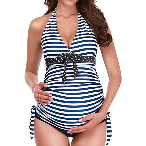 Duevin Badeanzug für Schwangere, Sexy V-Ausschnitt Badeanzug Trennt Streifen Rückenfreien Schwangerschafts Bademode (XL) (Trennt Anzug Frauen)