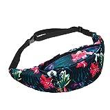 Amlaiworld Riñoneras de moda Mujeres hombres impresión deportes senderismo cinturón Running cintura bolsa (Rosa caliente, 57*50*20cm)