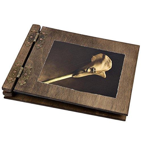 Album fotografico formato A4 in legno con immagine di calla in sepia, 50 fogli interni neri
