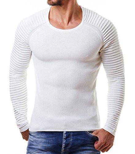 EightyFive Herren Feinstrick-Pullover Gerippt Streifen Weiß Blau Schwarz EF1695, Größe:S, Farbe:Weiß