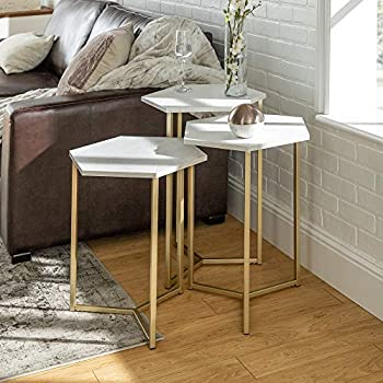 Eden Bridge Designs Mid Century Modern Wood Nesting Side Tables for Living Room Bedroom Home Office, Set of 3, Hexagon Shaped, Laminate, Faux White Marble/Gold, One Size