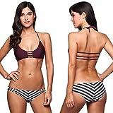 Modfine Bikini Mujer Raya Push Up Sexy Traje De Baño Negro 2 Piezas Bikini De Punto Corto Tirantes