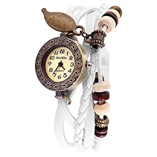 Alain Miller Damenuhr Armbanduhr Mintgrün Lederarmband 19cm Weiß RP3705750001