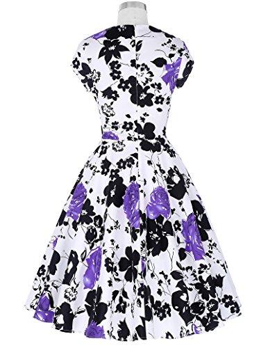 Belle Poque Damen Kappen Hülse V-Ausschnitt Retro Vintage Baumwolle Party Picknick Kleid BP01 Floral 2